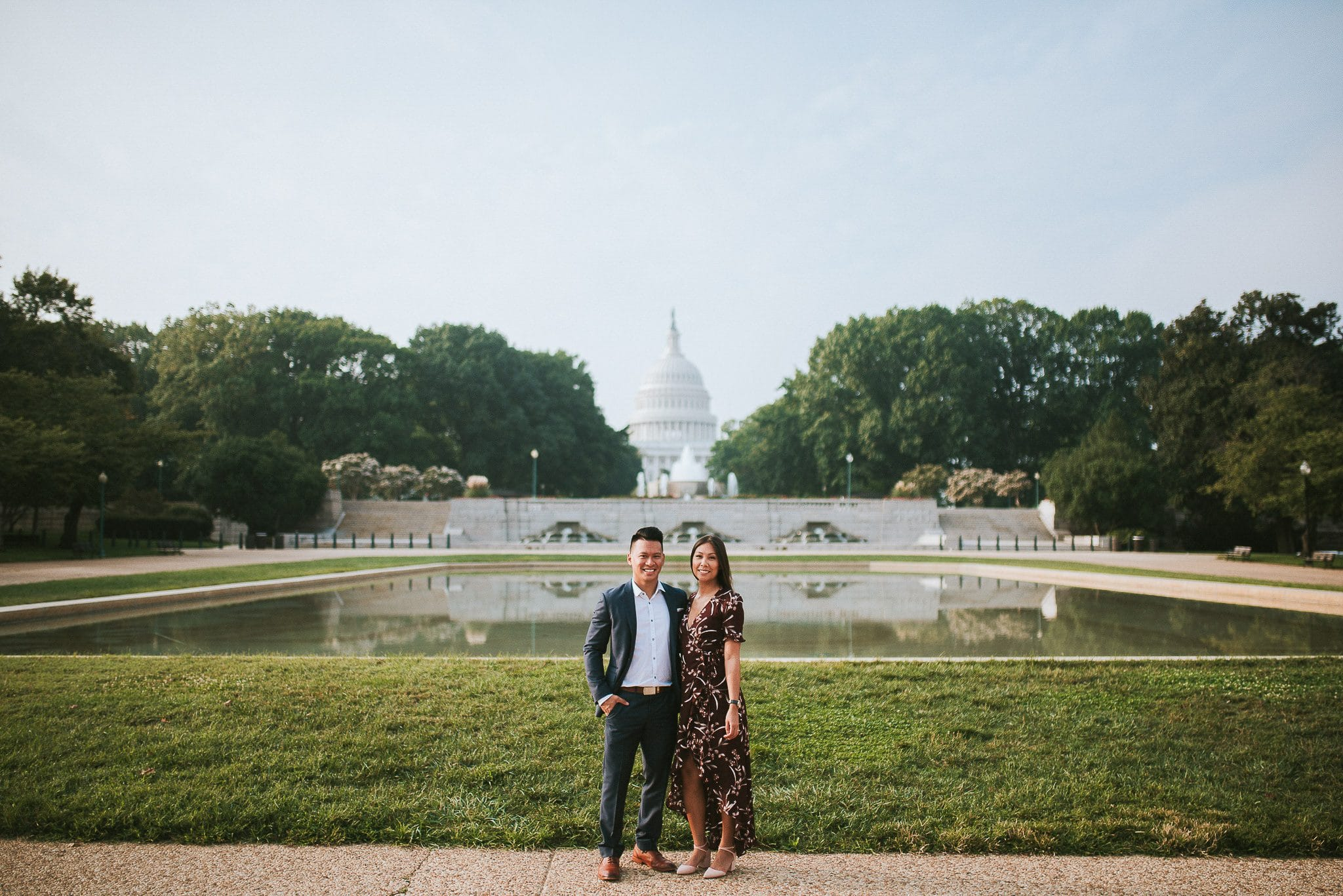 beautiful couple in front of lower senate park